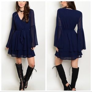 NWT Navy bell sleeve dress